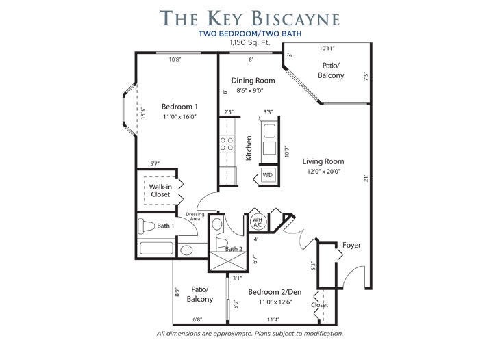 Plantation Independent Living Key Biscayne Floor Plan