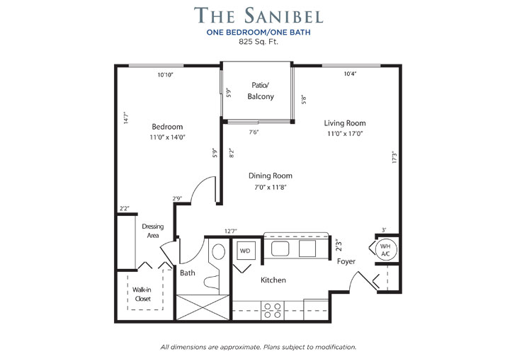 Plantation Independent Living Sanibel Floor Plan