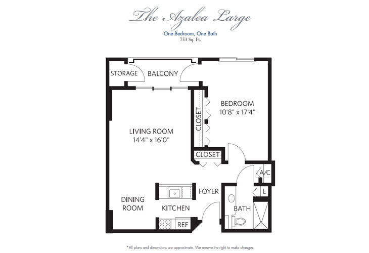 Pompano Beach Independent Living Azalea Large Floor Plan