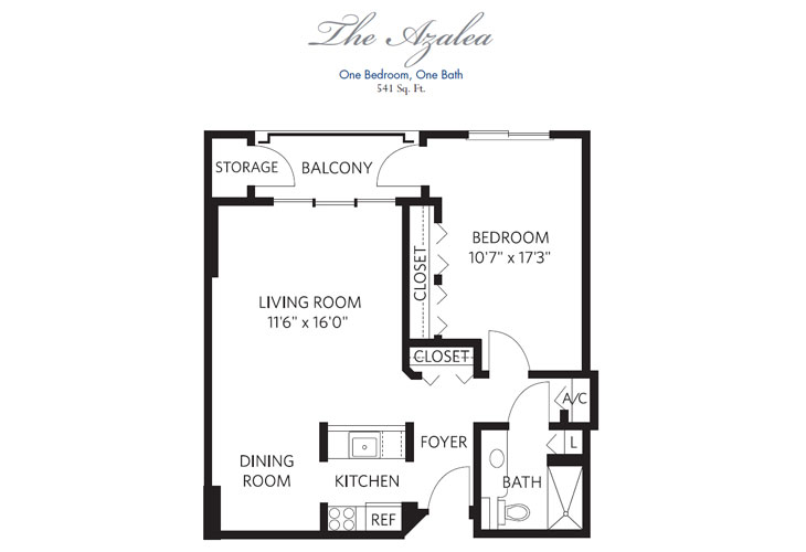 Pompano Beach Independent Living Azalea Floor Plan