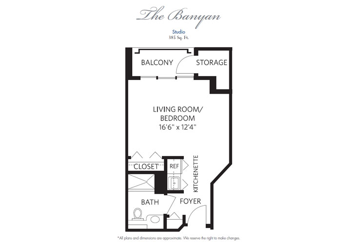 Pompano Beach Independent Living Banyan Floor Plan