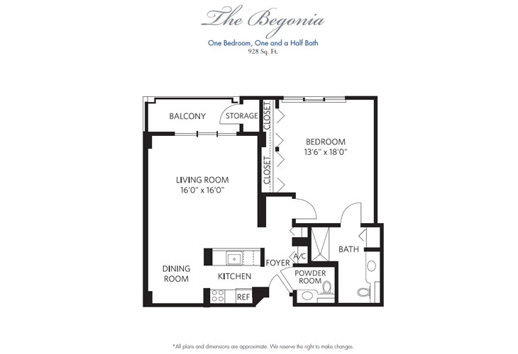 Pompano Beach Assisted Living Begonia Floor Plan