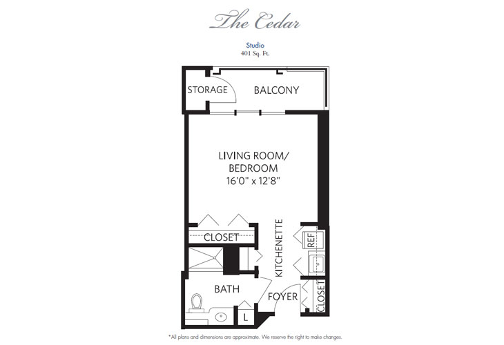 Pompano Beach Independent Living Cedar Floor Plan