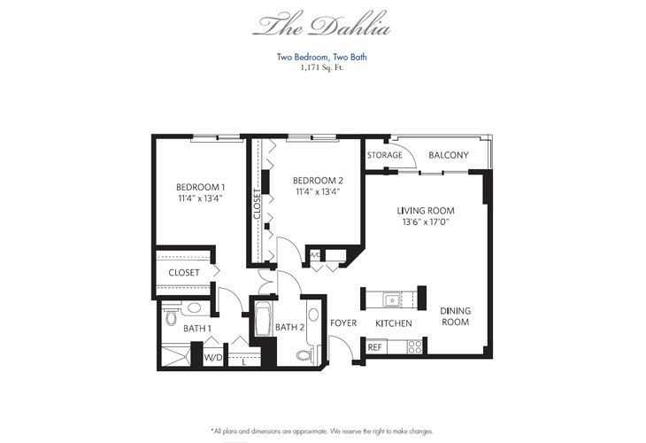 Pompano Beach Independent Living Dahlia Floor Plan
