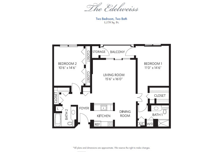Pompano Beach Independent Living Edelweiss Floor Plan