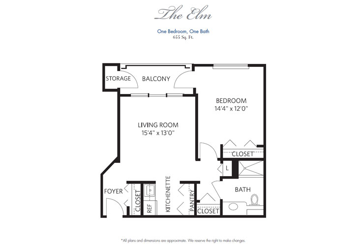 Pompano Beach Independent Living Elm Floor Plan