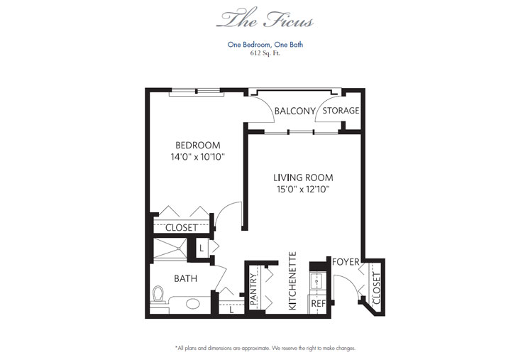 Pompano Beach Independent Living Ficus Floor Plan