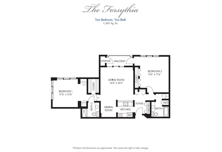 Pompano Beach Independent Living Forsythia Floor Plan