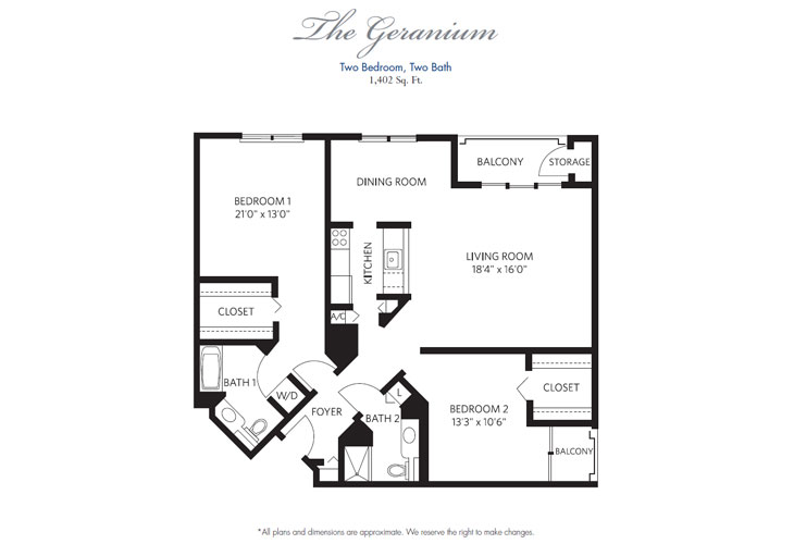 Pompano Beach Independent Living Geranium Floor Plan