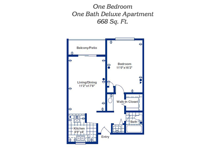 Pueblo Norte Assisted Living One Bedroom Deluxe Floor Plan