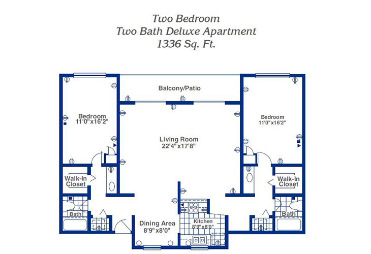 Pueblo Norte Independent Living Two Bedroom Deluxe Floor Plan