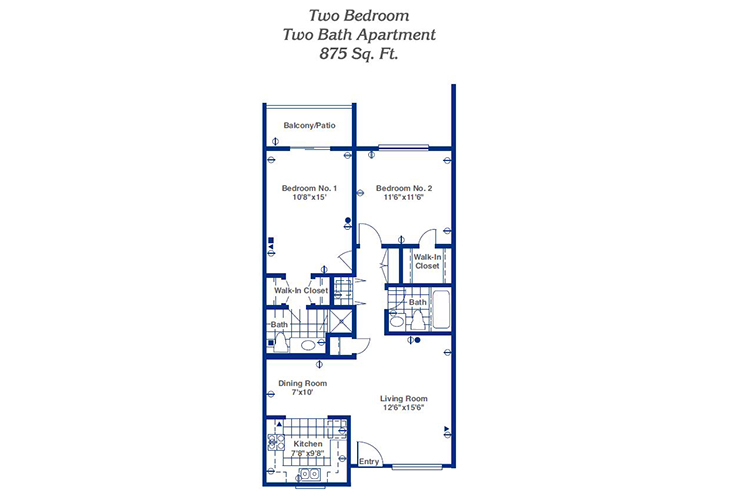 Pueblo Norte Independent Living Two Bedroom Floor Plan