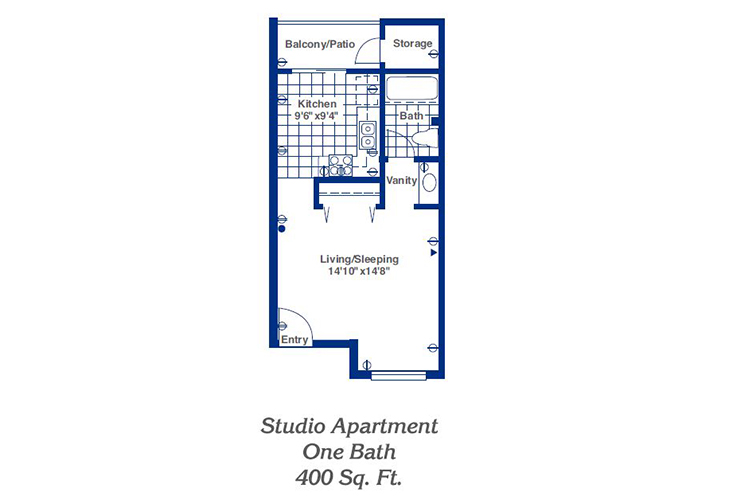 Pueblo Norte Independent Living Studio Floor Plan