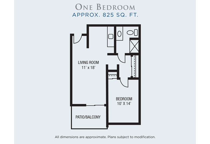 Rio Las Palmas Independent Living One Bedroom Floor Plan