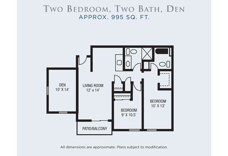 Rio Las Palmas Independent Living Two Bedroom (1) Floor Plan