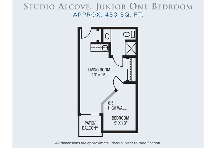 Rio Las Palmas Independent Living Studio Alcove Floor Plan