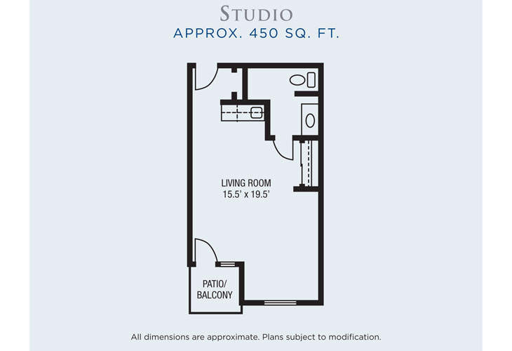Rio Las Palmas Independent Living Studio Floor Plan