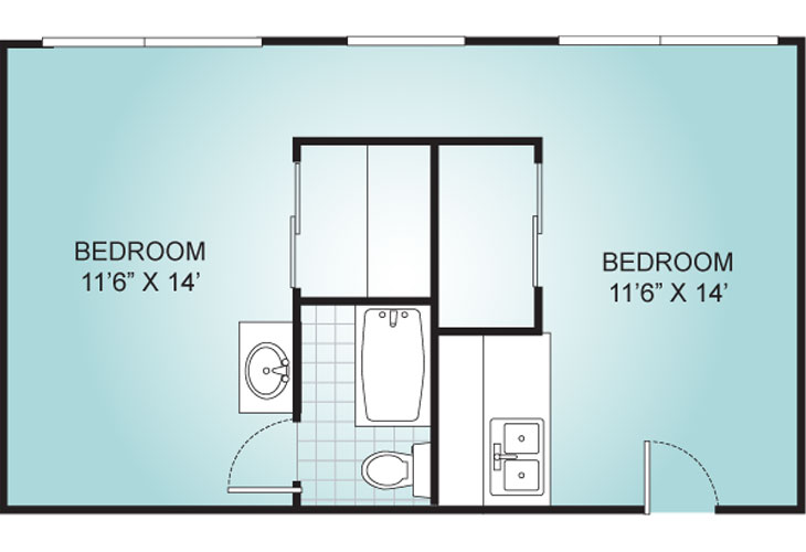 Riviera Independent Living Studio Suite 2 Floor Plan