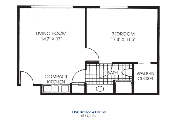 Savannah Square Assisted Living One Bedroom Deluxe Floor Plan