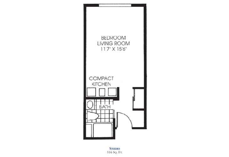 Savannah Square Assisted Living Studio Floor Plan