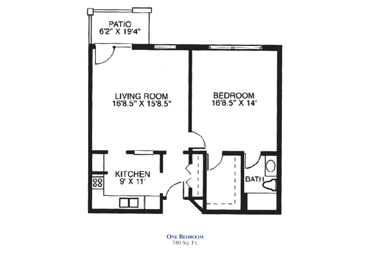 Savannah Square Independent Living One Bedroom Floor Plan