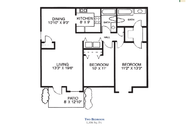 Savannah Square Independent Living Two Bedroom 1 Floor Plan