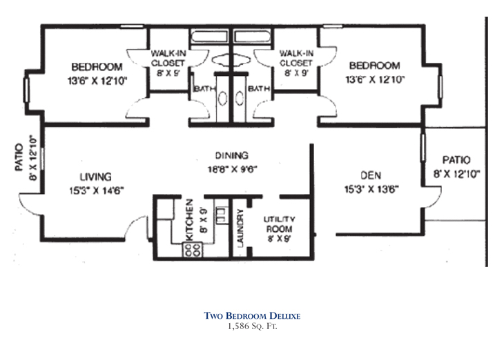 Savannah Square Independent Living Two Bedroom Deluxe Floor Plan