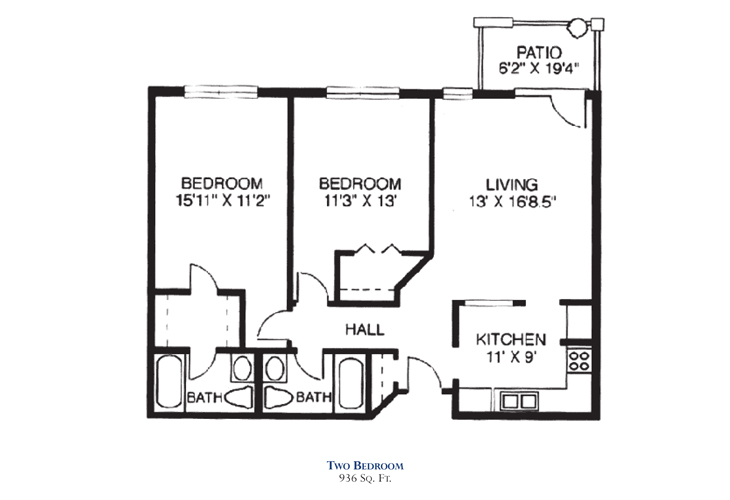 Savannah Square Independent Living Two Bedroom Floor Plan