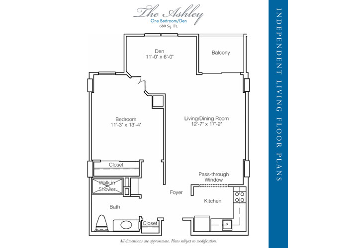 Stratford Court of Palm Harbor Independent Living Ashley Floor Plan