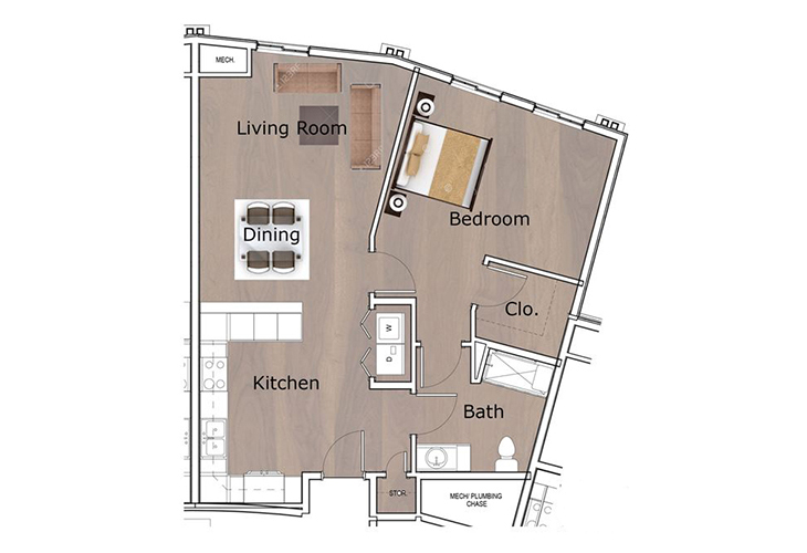 Neighborhood Tellico Village Memory Care One Bedroom C Floor Plan
