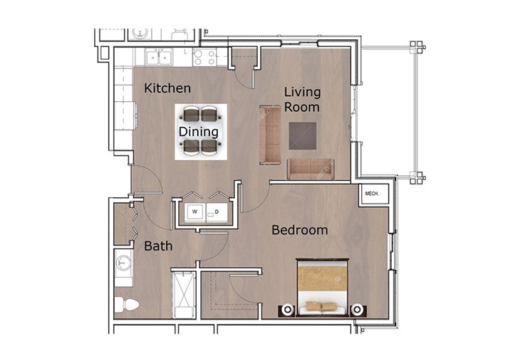Neighborhood Tellico Village Memory Care One Bedroom D Floor Plan
