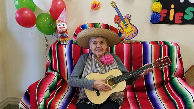 resident wearing a sombrero