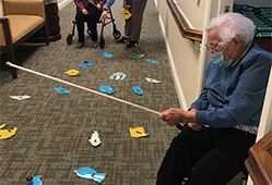 resident fishing in hallway