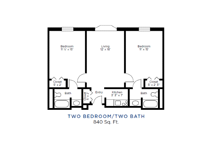 The Lafayette Independent Living Two Bedrooms Two Baths Floorplan