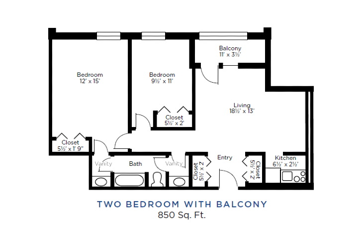 The Lafayette Independent Living Two Bedrooms with Balcony Floorplan