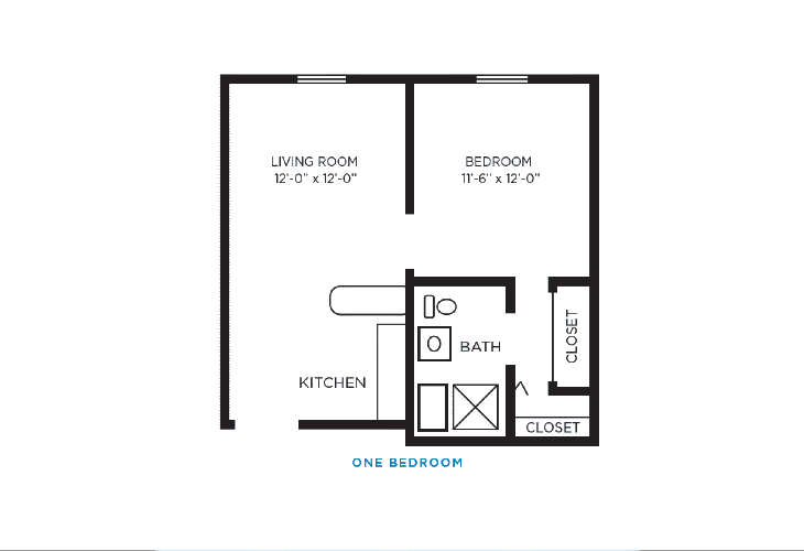 Foulk Manor North Independent Living One Bedroom Floor Plan