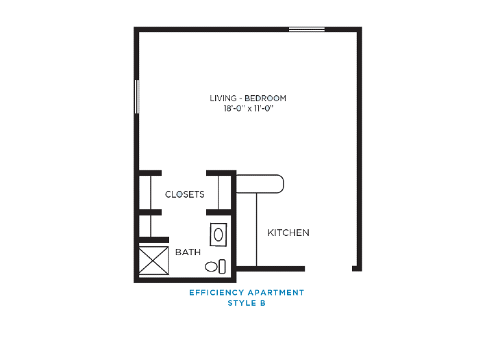 Foulk Manor North Independent Living Efficiency Apartment B Floor Plan