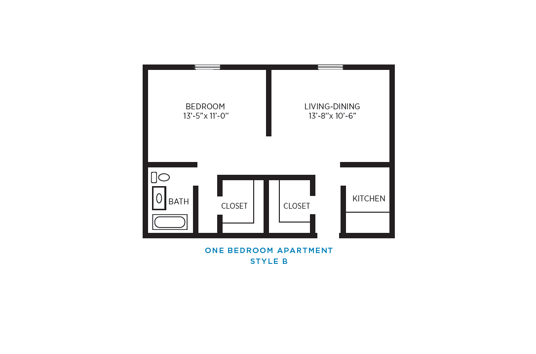 Foulk Manor North Independent Living One Bedroom Apartment B Floor Plan