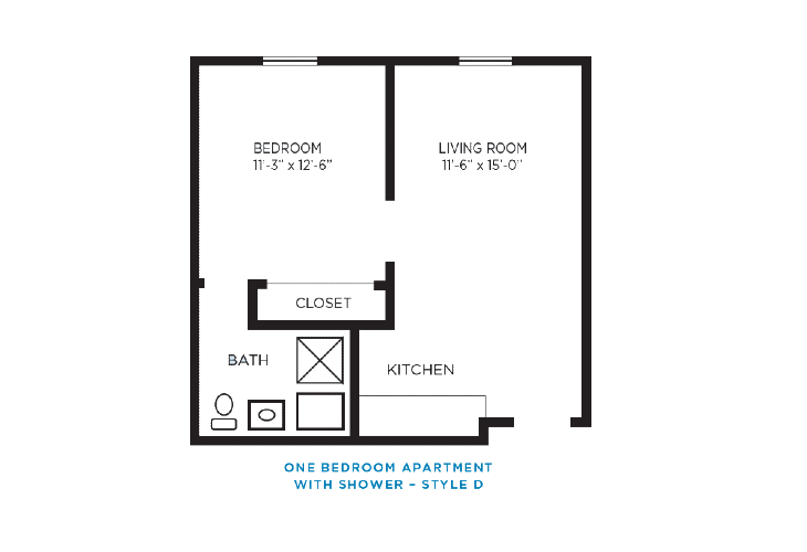 Foulk Manor North Independent Living One Bedroom Apartment D Floor Plan