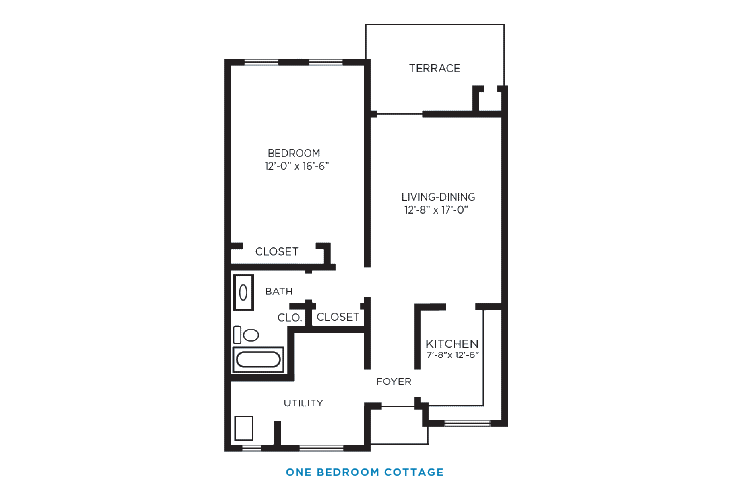 Foulk Manor North Independent Living One Bedroom Cottage Floor Plan