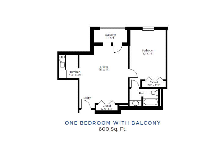 The Lafayette Independent Living One Bedroom with Balcony Floorplan