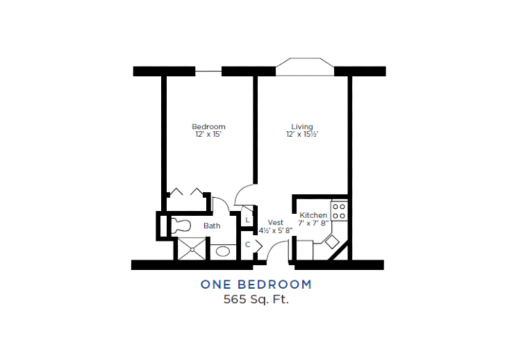 The Lafayette Independent Living One Bedroom Floorplan