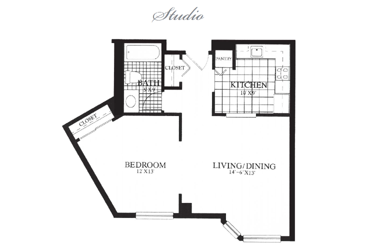 Gables at Winchester Independent Living Studio Floor Plan