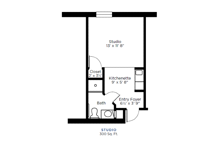 The Lafayette Independent Living Studio Floorplan