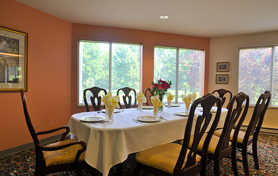 private dining room with a big table