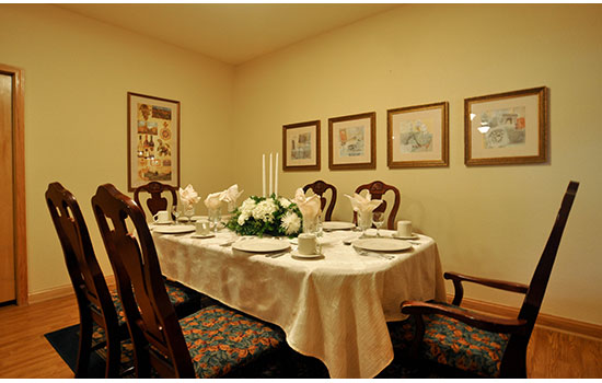 private dining room with a large table