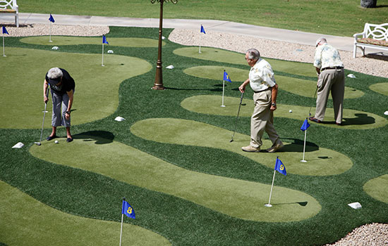 multiple golf putting greens outside