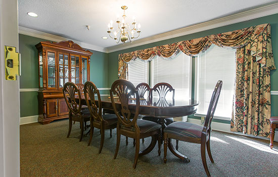 private dining room with a long table