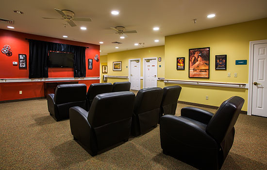 theater with a big screen and comfortable seats
