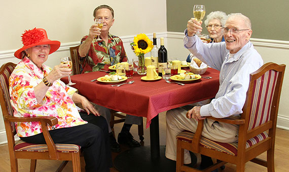residents sitting at dining table